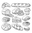 bakery product sketch bread and cakes set vector image vector image