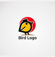 bird logo with red circle and street icon element vector image vector image