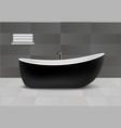 black bathtub concept background realistic style vector image