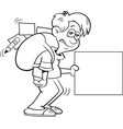 boy with a large backpack and holding a sign vector image vector image