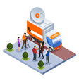 broadcast telecommunication isometric composition vector image vector image