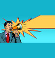 businessman with megaphone yellow ray vector image vector image