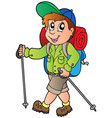 cartoon hiker boy vector image