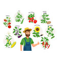 cute farmer and his harvest around him set of vector image