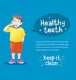 cute little boy brushing teeth vector image