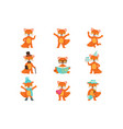 cute little fox cartoon characters set for label vector image vector image