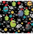 Cute monsters and Christmas seamless pattern vector image vector image
