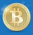 Digital bitcoin golden coin with bitcoin symbol in