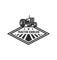 farmers market emblem template with tractor vector image vector image