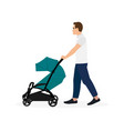 father walking with baby stroller isolated vector image