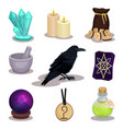 flat set of icons related to divination vector image