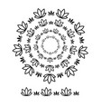 flower brushs patterns in a circle line black vector image vector image