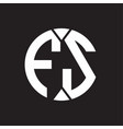 fs logo monogram with piece circle ribbon style vector image vector image