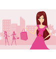 happy fashion girl on Shopping in the city vector image vector image