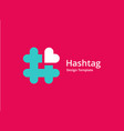 hashtag symbol heart logo icon design template vector image