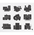 Home electronics icons set Silhouette vector image vector image