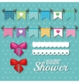 invitation baby shower card with pennants desing vector image