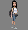 isolated cartoon woman tourist with a backpack vector image vector image