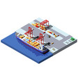 isometric cargo port with two cranes vector image