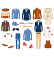 men s fashion set clothes and accessories vector image vector image
