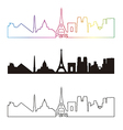 Paris skyline linear style with rainbow vector image vector image