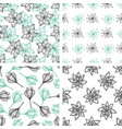 patterns with green and black flowers vector image vector image
