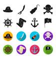 pirate bandit rudder flag pirates set vector image