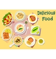 Popular soups with meat and fish dishes icon vector image vector image