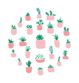 Potted plants arranged in circle vector image