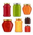 realistic fruit jam jar icon set vector image vector image