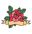 rose tattoo with ribbon art vector image vector image