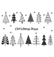 set isolated silhouettes christmas trees vector image vector image