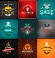 Set of Retro Happy Halloween Badges Design Element vector image vector image