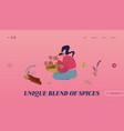 spice and seasoning ingredients website landing vector image vector image