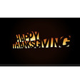 thanksgiving day text banner orange text on black vector image