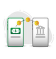 transfer earning to bank design vector image vector image