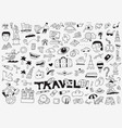 travel doodle set pencil drawings vector image vector image