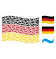 waving german flag mosaic of water wave items vector image