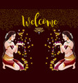 welcome abstract background with two indian girls vector image