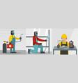welder worker banner concept set flat style vector image