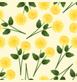 yellow dahlia on beige ivory background vector image vector image