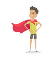 young boy in superman pose wearing a red cloak vector image