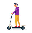 young man with headphones rides electric scooter vector image