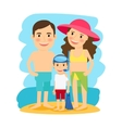 Happy family at beach vector image