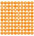 100 team icons set orange vector image vector image