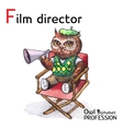 Alphabet professions Owl Letter F - Film Director vector image vector image