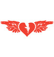banner with red flying heart with wings vector image vector image