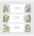 bundle of horizontal banner templates with elegant vector image vector image