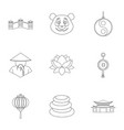 china travel icon set outline style vector image vector image