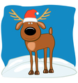 Christmas deer in a cap of Santa vector image